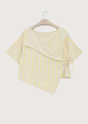 Yellow Stripe Back Wrap Top