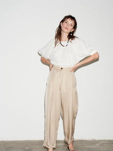 TAUPE PLEATED CUFFED TROUSER