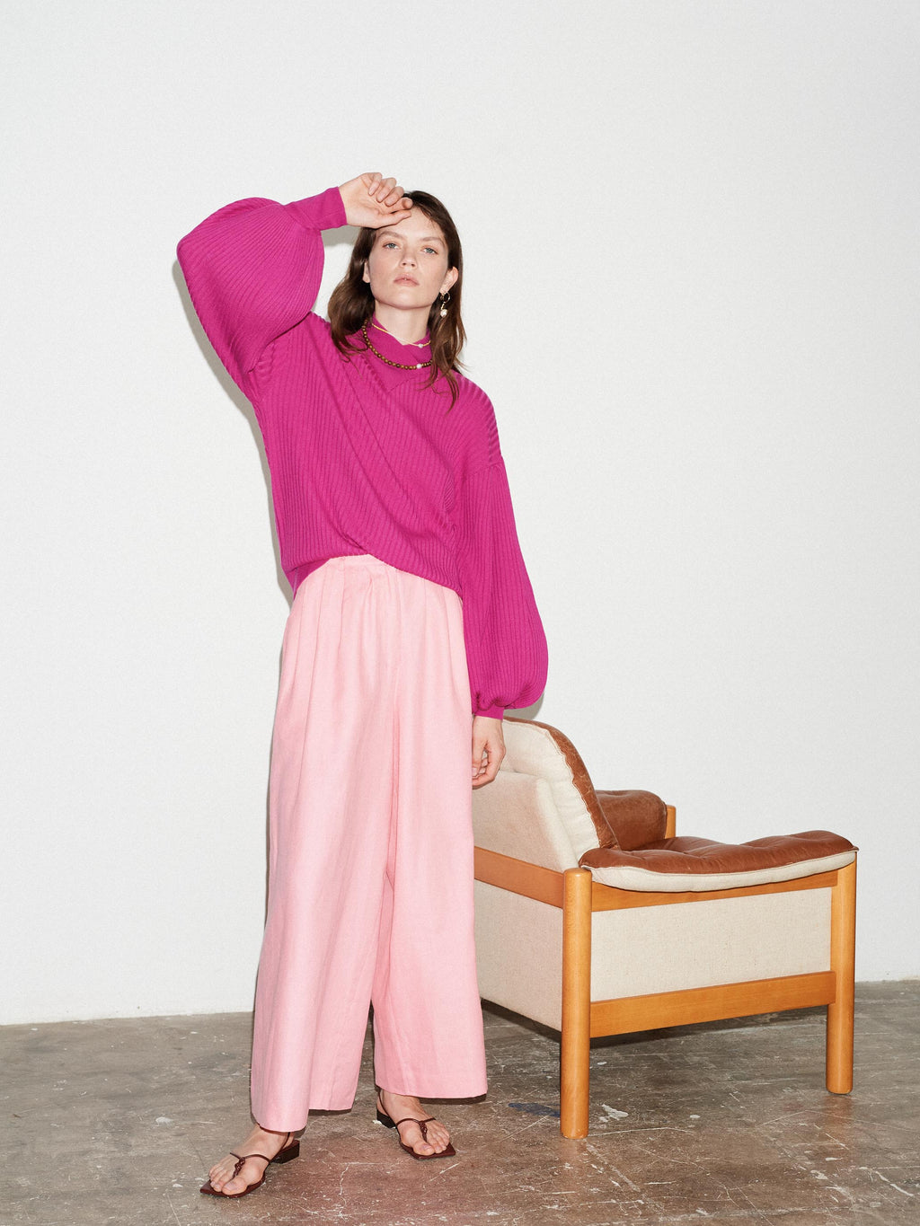 FUCHSIA MERINO WRAP NECK BALLOON SLEEVE KNIT