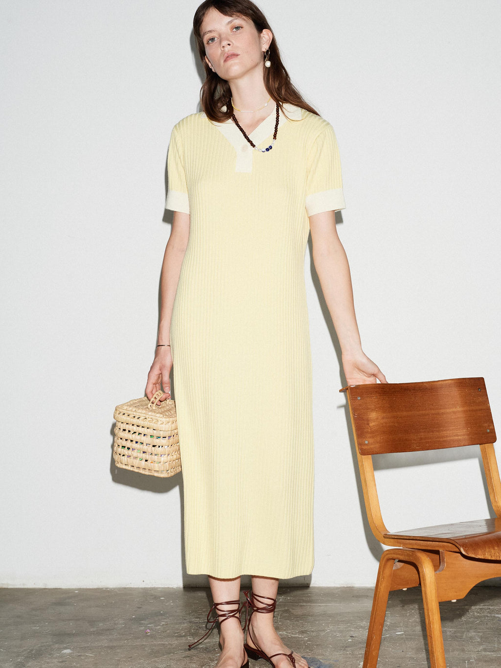 LEMON MERINO POLO DRESS