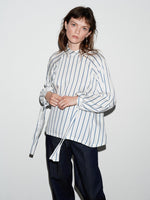 STRIPE FUNNEL NECK LONG SLEEVE TOP WHITE/NAVY
