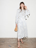 STRIPE TIE SLEEVE DRESS WHITE/NAVY