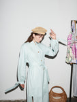 SKY BLUE TIE SLEEVE TRENCH