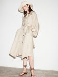TAUPE TIE SLEEVE TRENCH