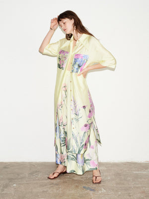 LEMON FLORAL POINTED COLLAR SHORT SLEEVE SHIRT DRESS