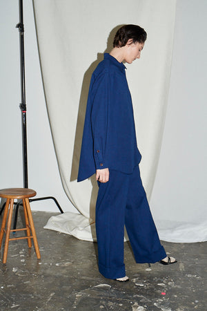 Indigo Denim Cuffed Flat Front Trouser