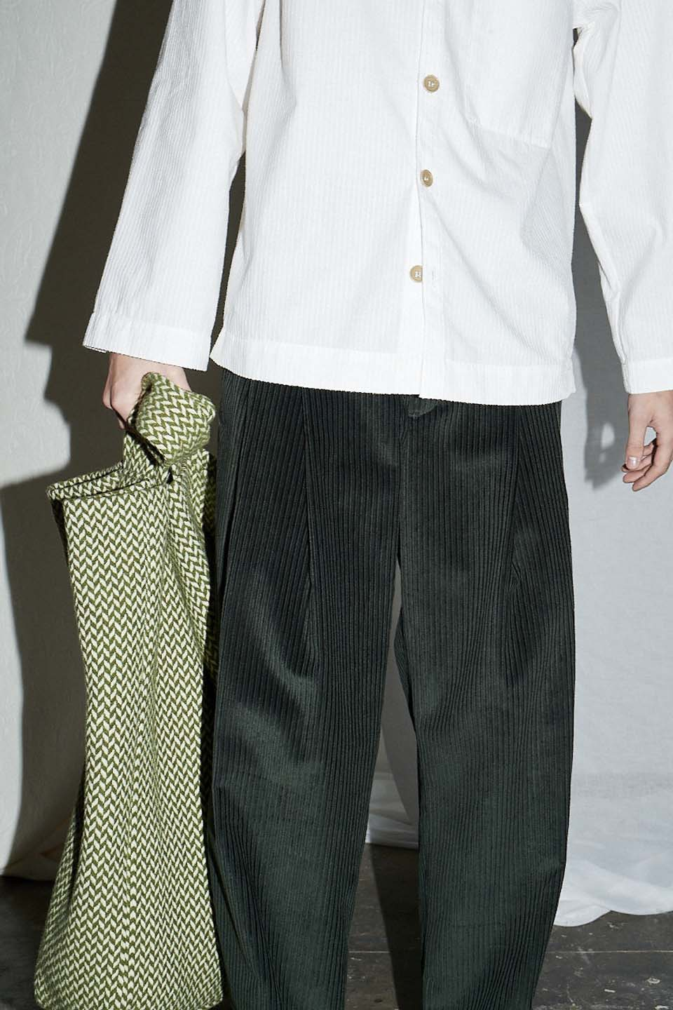 Bottle Green Cord Tapered Pleat Trouser