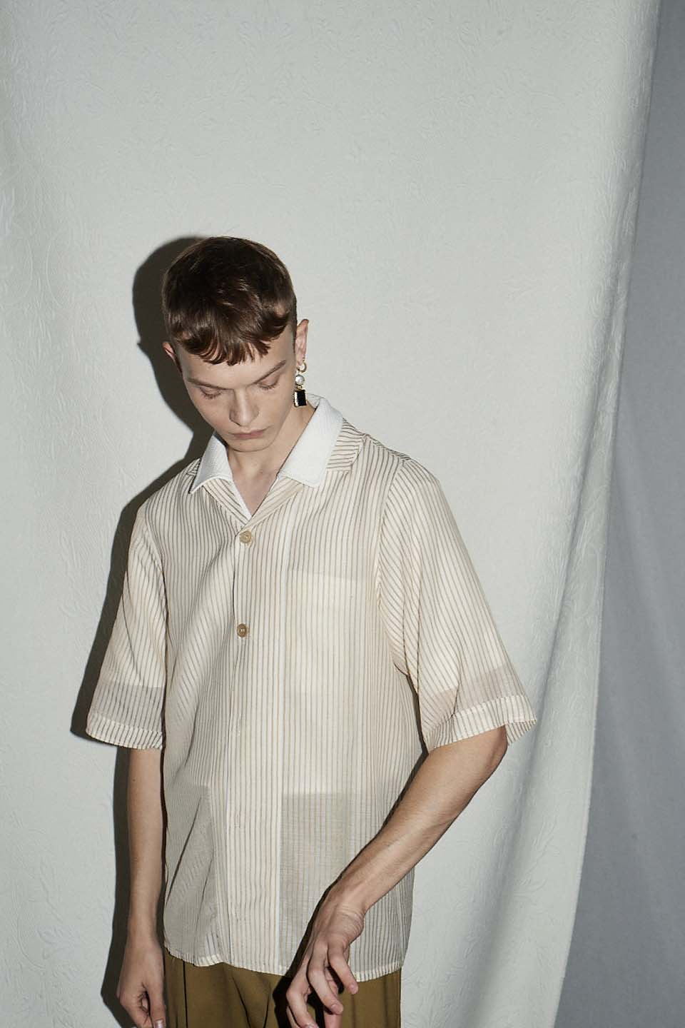 Cuffed Bowling Shirt - Safari Stripe