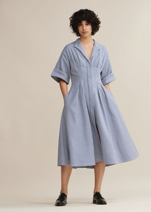 Cobalt Gingham Pleat Shirt Dress
