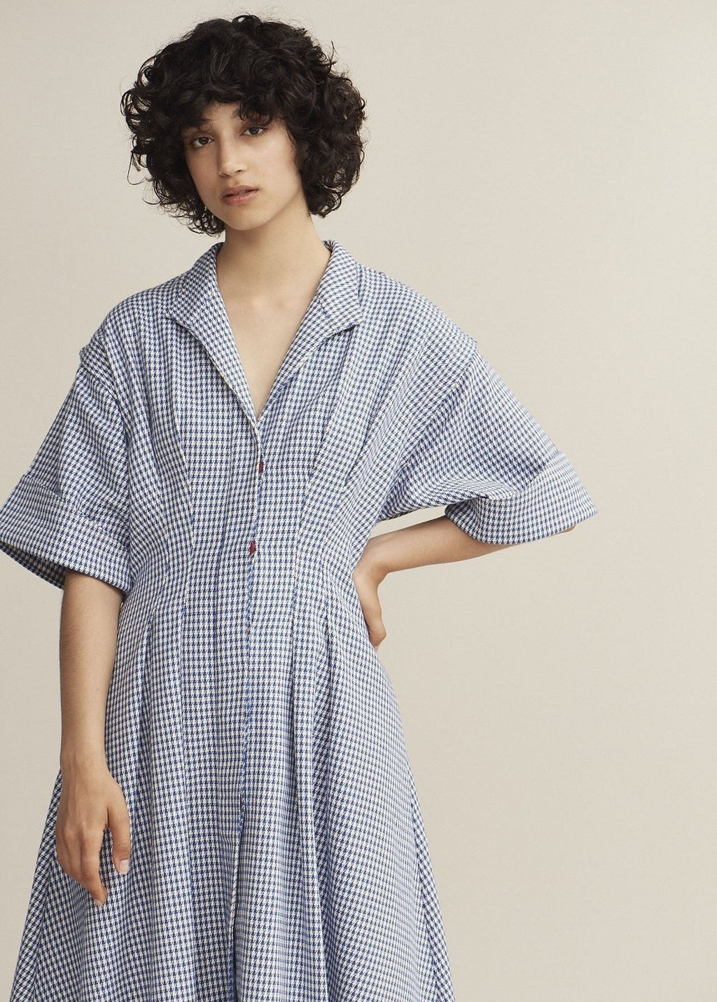 Cobalt Gingham Pleat Shirt Dress - King & Tuckfield