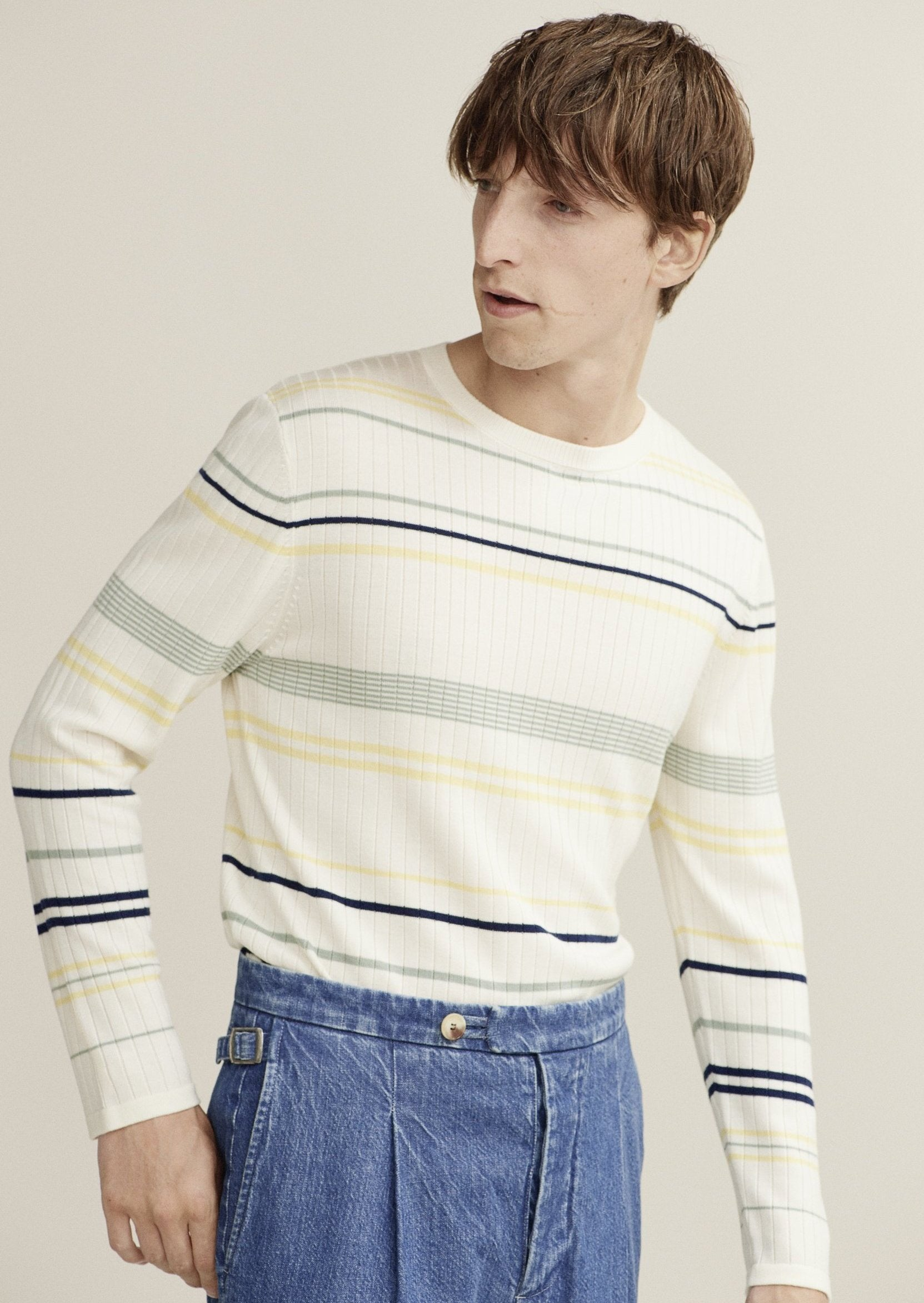 Stripe Knitted Crew Neck - King & Tuckfield