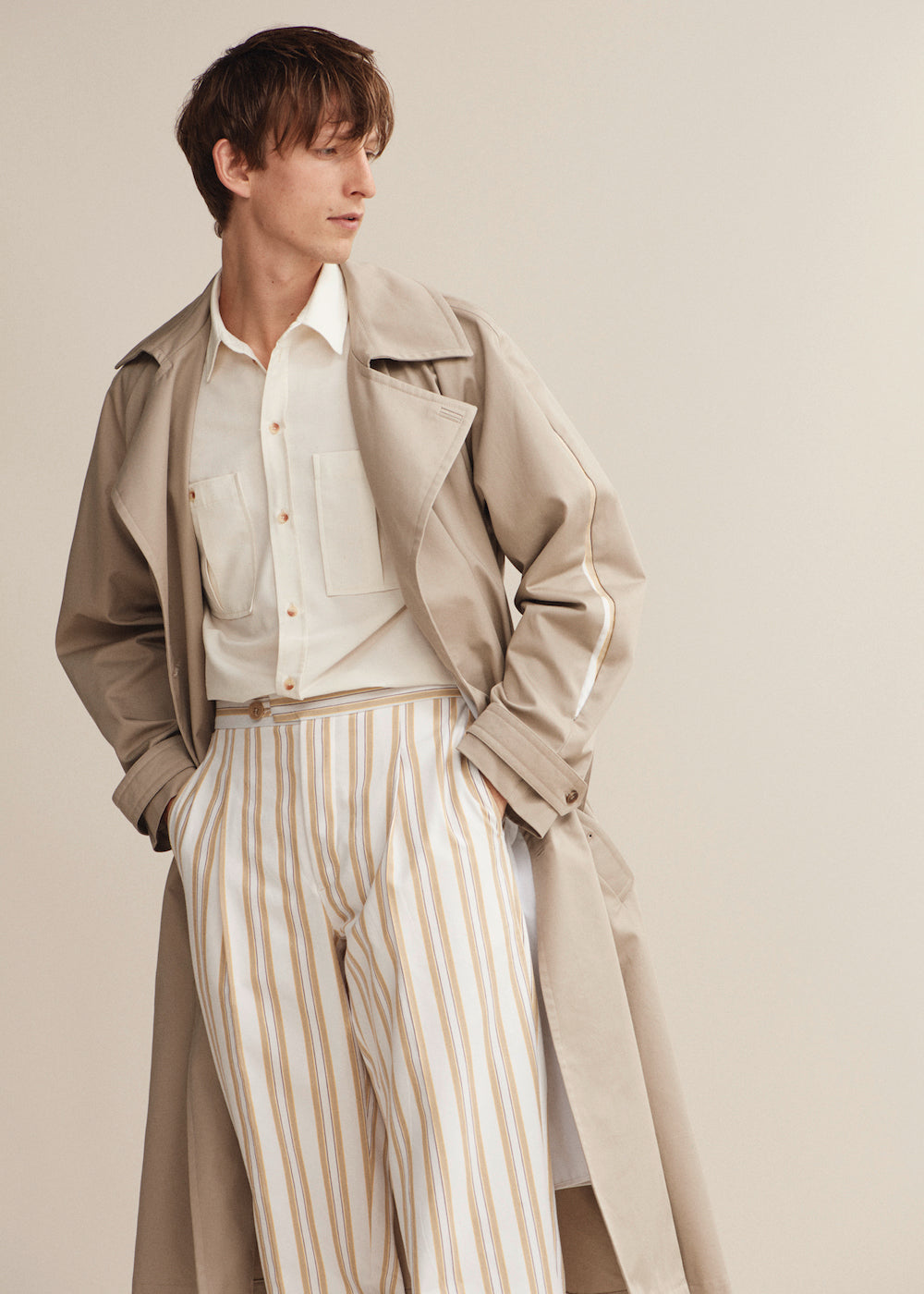 Stripe Cotton Pleat Trouser