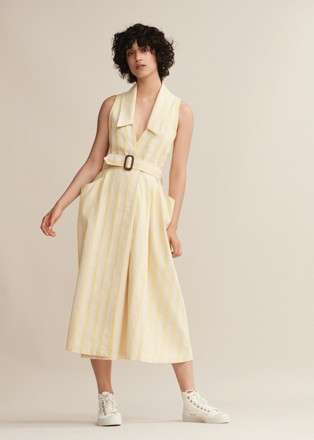 Yellow Stripe Halter Wrap Dress