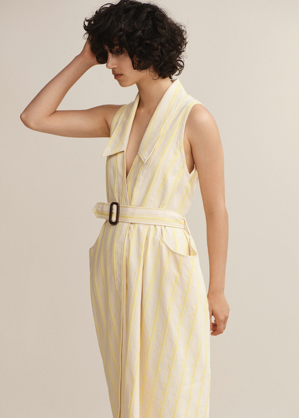 Yellow Stripe Halter Wrap Dress - King & Tuckfield