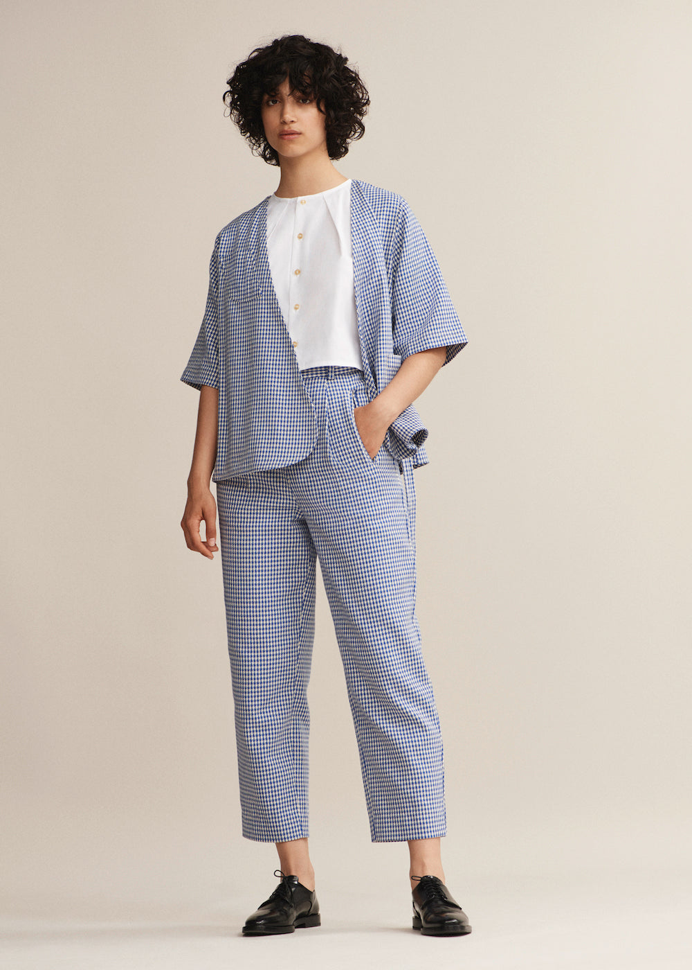 Cobalt Gingham Balloon Trouser