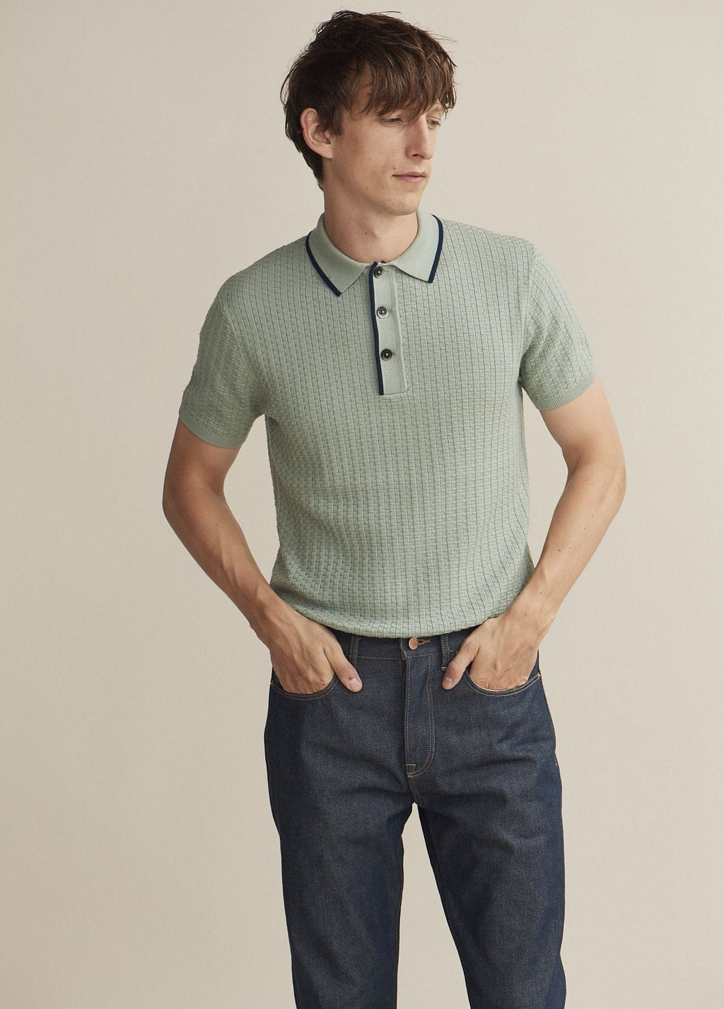 50's Inspired Green Malibu Textured Polo