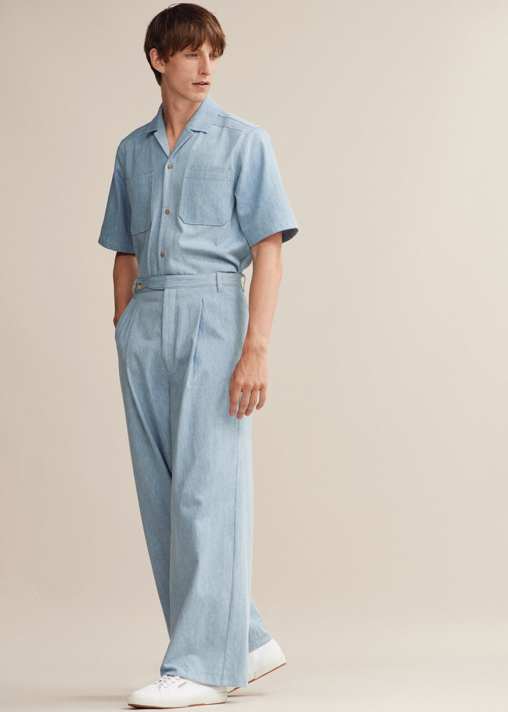 Wide Leg Pleat Trouser - King & Tuckfield