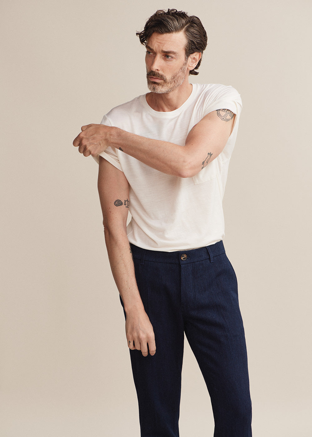Hand Me Down - Merino Pearl Blue Pocket T-shirt - King & Tuckfield