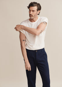 Hand Me Down - Merino Surf Blue Pocket T-shirt - King & Tuckfield