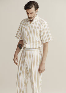 Stripe Cotton Pleat Trouser KTXRB