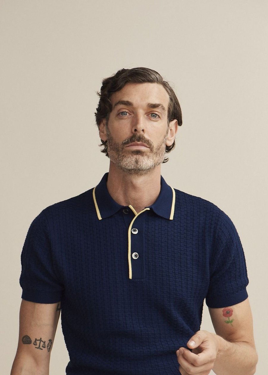 50's Inspired Navy Textured Polo