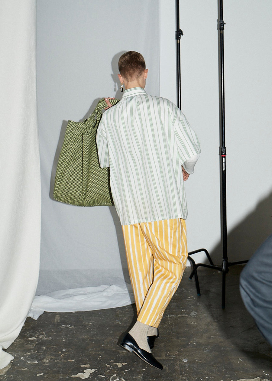 Moss Green with Ecru Stripe Gathered Sleeve Oversized Shirt