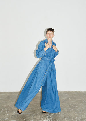 Denim Wide Leg Wrap Jumpsuit - King & Tuckfield