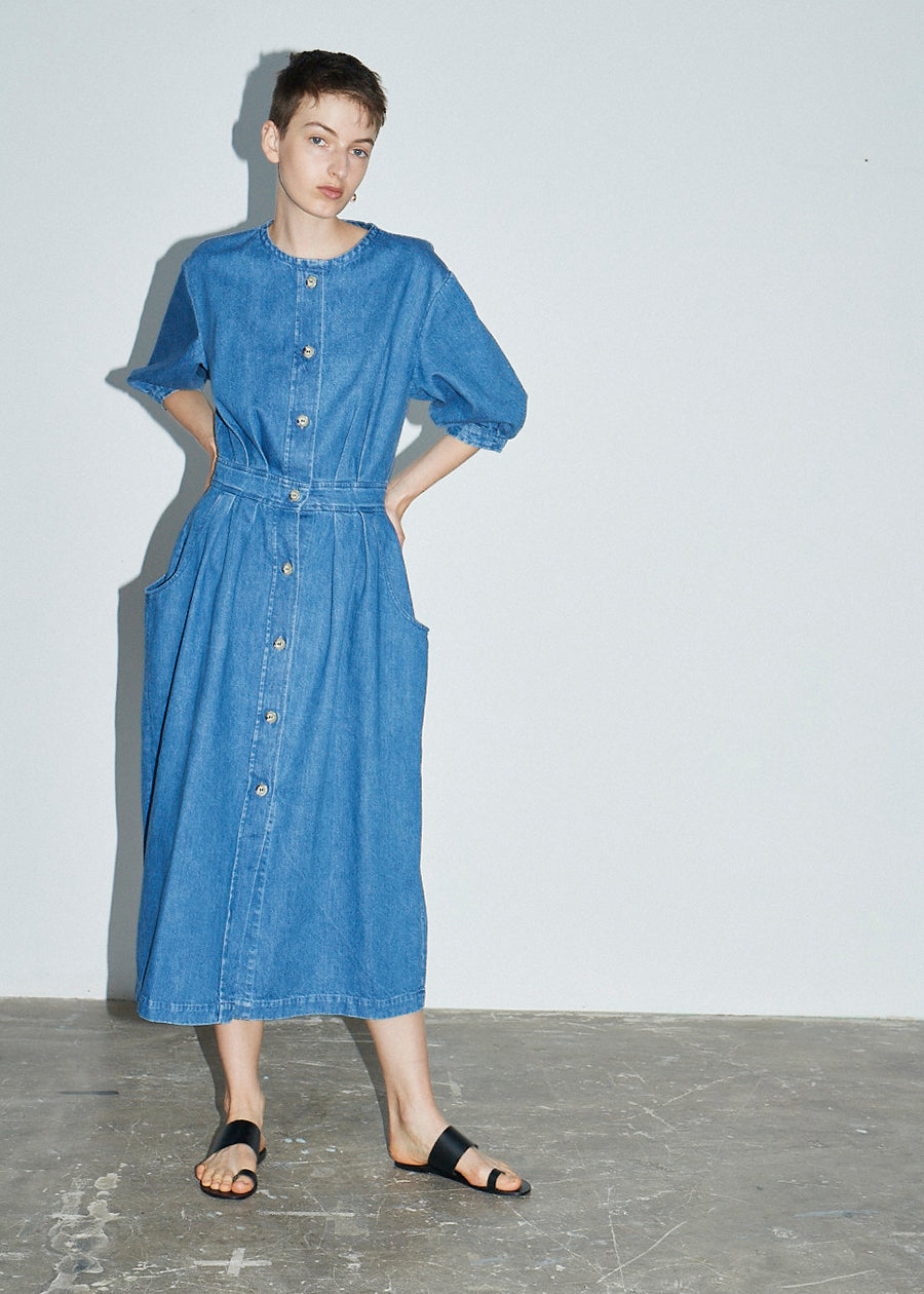 Denim Balloon Sleeve Dress - King & Tuckfield