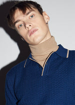 50's Inspired LS Navy Textured Polo - King & Tuckfield