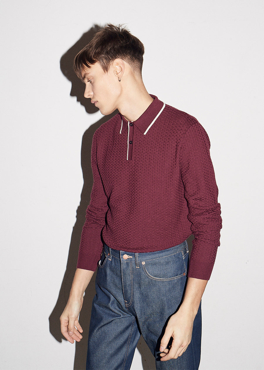 50's Inspired LS Port Textured Polo - King & Tuckfield