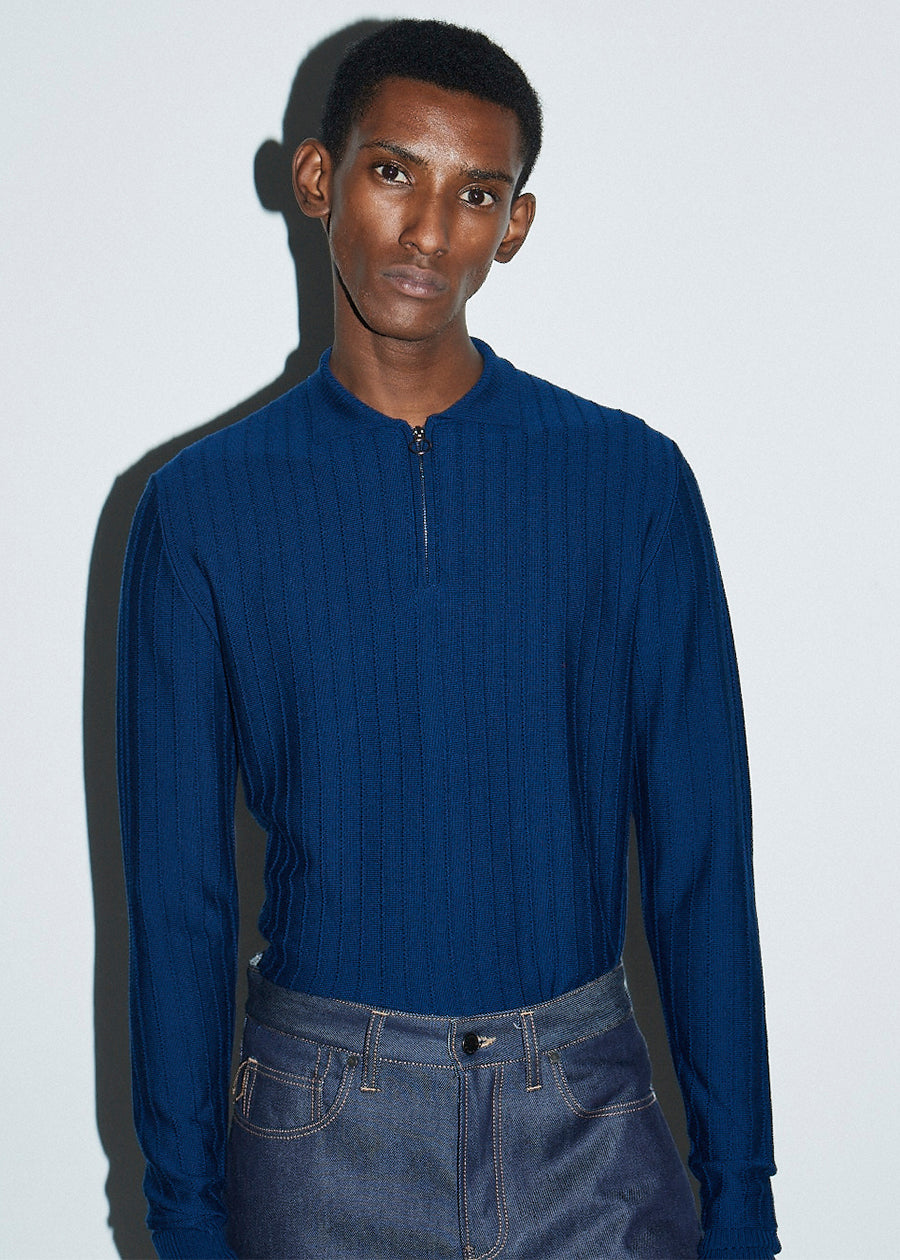 Zip-through LS Navy Textured Polo