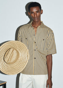Gold with Navy Stripe Double Pocket Shirt - King & Tuckfield
