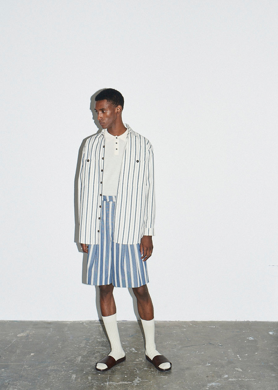 Blue with Ecru stripe Double Pleat Short - King & Tuckfield