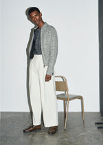 Ecru Stripe Double Pleat Chino - King & Tuckfield