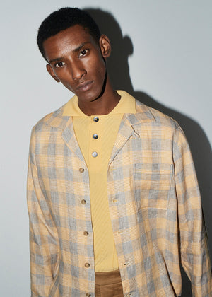 LS Gold Check Pocket Linen Bowling Shirt - King & Tuckfield