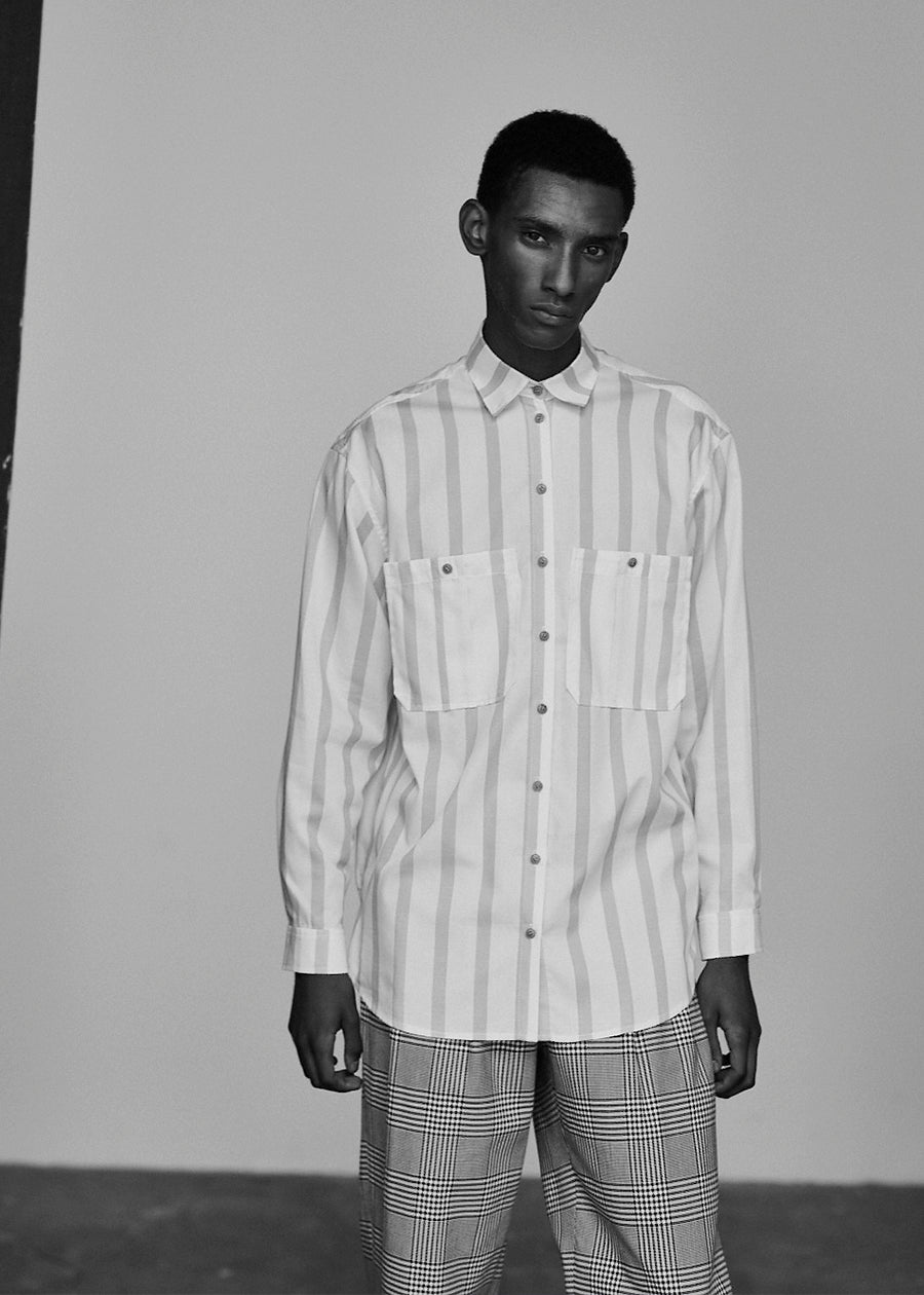 Gold with Ecru Stripe Double Pocket Oversized Shirt - King & Tuckfield