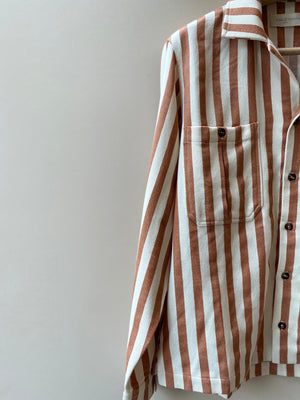 Walnut Stripe Long Sleeve Bowling Shirt