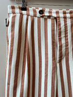 Walnut Stripe Pleat Trouser - King & Tuckfield