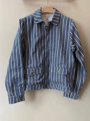 Blue and White Stripe Harrington Jacket