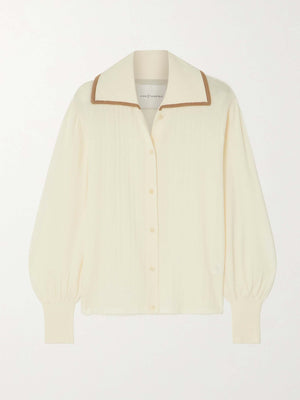 MERINO TEXTURED POINTED COLLAR KNITTED SHIRT VANILLA ICE/CAMEL