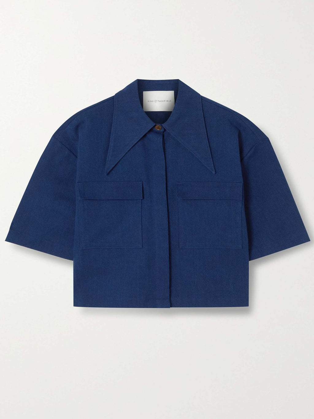 INDIGO POINTED COLLAR SHORT SLEEVE SHIRT
