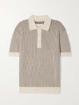 MERINO SHORT SLEEVE RIBBED POLO VANILLA ICE/ESPRESSO