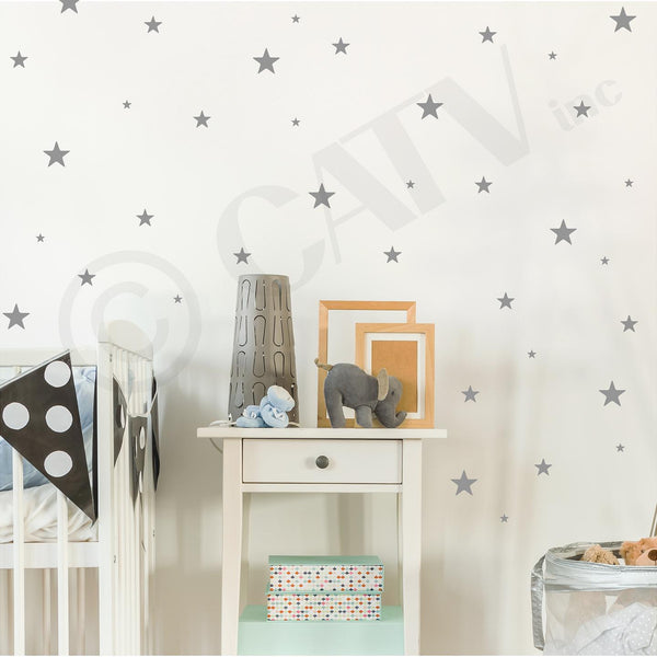 set of 108 metallic silver star wall decal stickers self adhesive