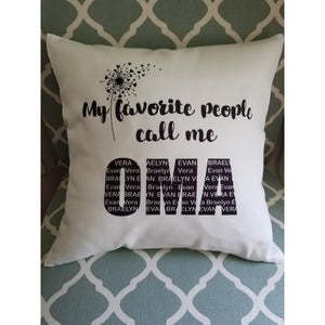 Personalized Mom pillow, My favorite people call me - Laughing Girl Design