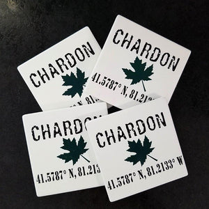 "Chardon Ohio Maple Leaf -black ink lettering with green maple leaf design on white sandstone 4"" x 4"" coasters with cork backing"