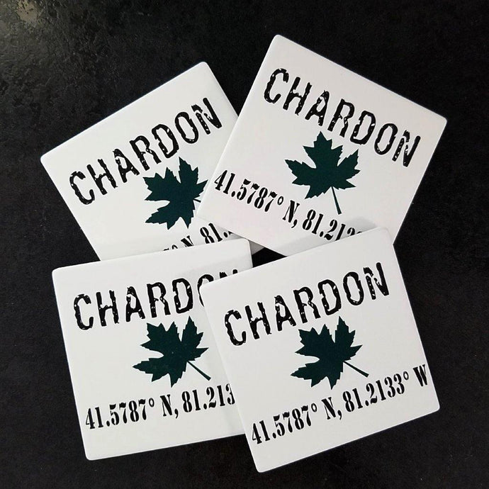 Chardon Ohio Maple Leaf -black ink lettering with green maple leaf design on white sandstone 4