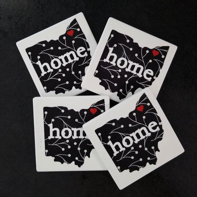 Black and White Ohio coasters - Laughing Girl Design