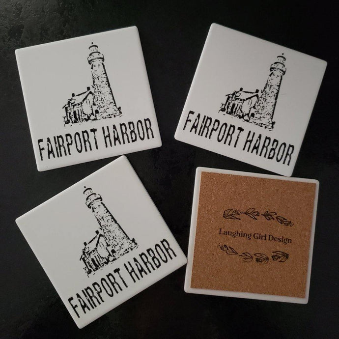 Fairport Harbor Ohio Lighthouse coasters -Set of 4 - Laughing Girl Design