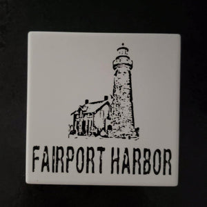 Fairport Harbor Ohio Lighthouse coasters - Laughing Girl Design