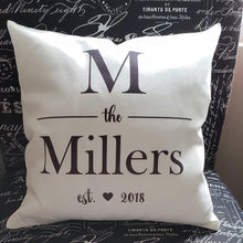 Load image into Gallery viewer, Monogram Pillow - Classic Square Pillow - Laughing Girl Design